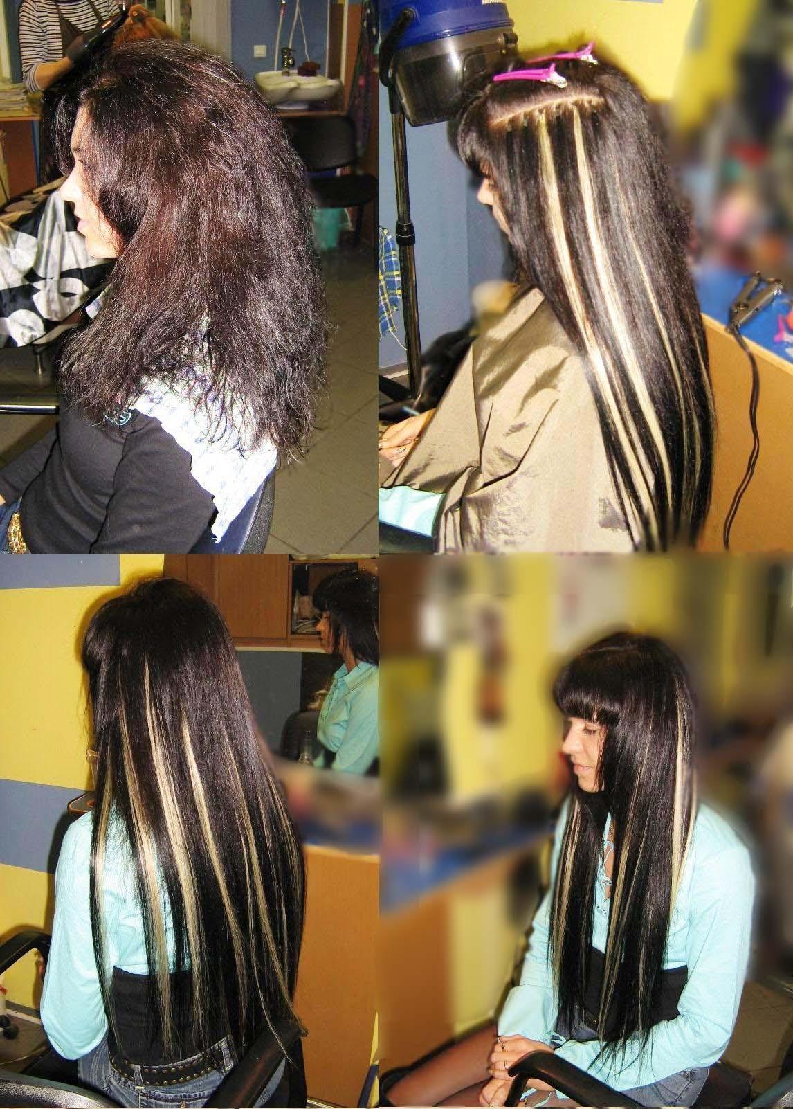 Мелирование волос с помощью наращивания